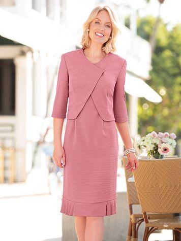 Textured-Knit Jacket Dress - Image 5 of 5