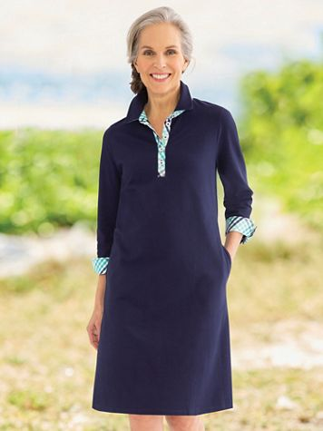 Gingham-Trim Piqué Polo Dress - Image 1 of 4