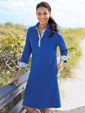 Gingham-Trim Piqué Polo Dress