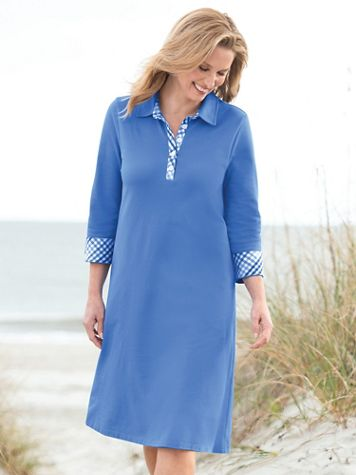 Gingham-Trim Piqué Polo Dress - Image 3 of 3