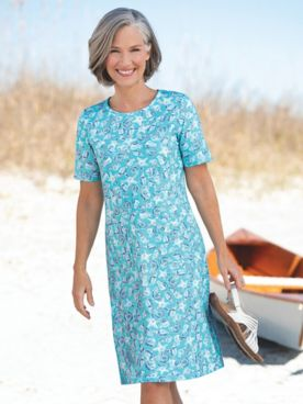 Seashell-Print Boardwalk Knit Short-Sleeve Dress