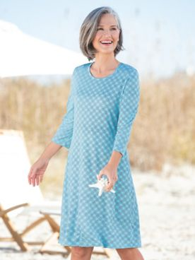 Nautical Circles Print Knit A-Line Dress