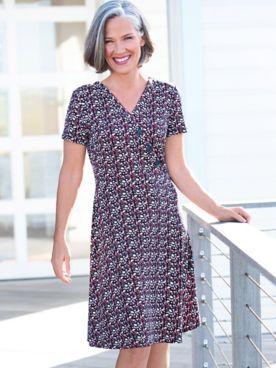 Floral 3-Button Knit Dress