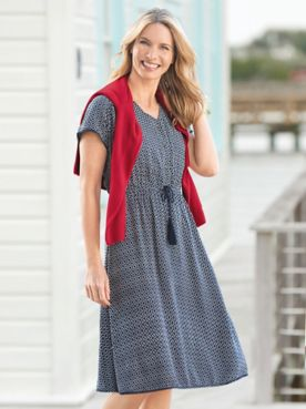 Geo-Print V-Neck Dress