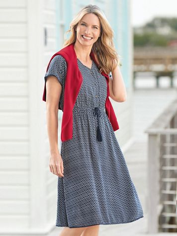 Geo-Print V-Neck Dress - Image 3 of 3