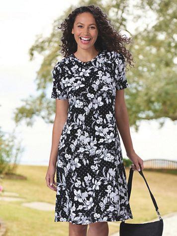 Floral Dot Print Knit Swing Dress - Image 1 of 2