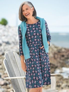 Floral Vine-Print Boardwalk Knit Dress