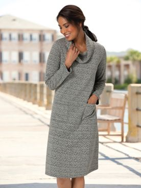 Easy Textured Knit Cowlneck Dress