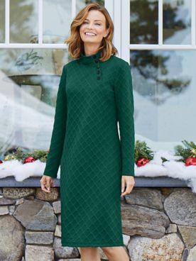 Jacquard-Knit Button-Mock Dress