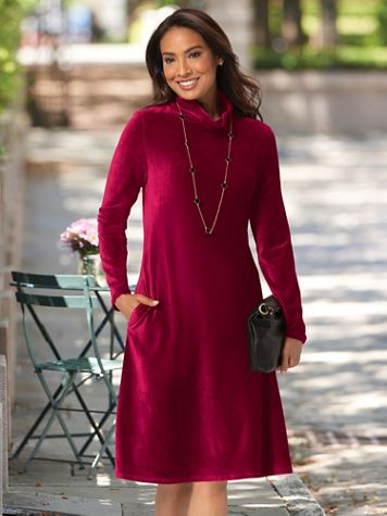 Ribbed Velour Cowlneck Swing Dress - Image 2 of 2
