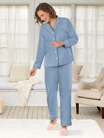 Daisy Foulard-Print Brushed-Back Satin Pajamas - Image 1 of 1