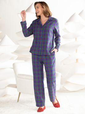 Plaid Cotton Flannel Pajama Set