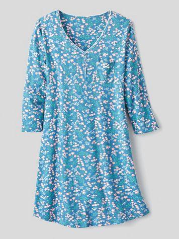 Karen Neuburger Girl & The Fig Cotton-Knit Long-Sleeve Nightgown - Image 1 of 1