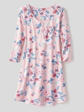 Karen Neuburger Girl & The Fig Cotton-Knit Long-Sleeve Nightgown