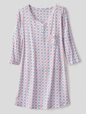 Karen Neuburger Girl & The Fig Cotton-Knit Long-Sleeve Nightgown