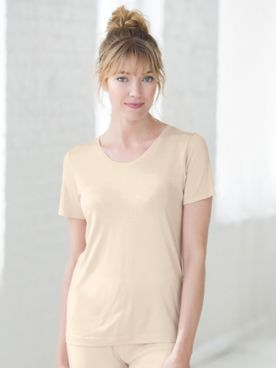 WinterSilks Silk-Knit Mid-Weight Short-Sleeve Scoopneck Base Layer