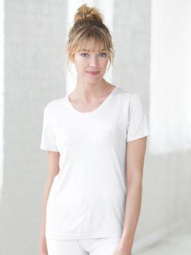 WinterSilks Silk-Knit Mid-Weight Short-Sleeve Scoopneck Base Layer
