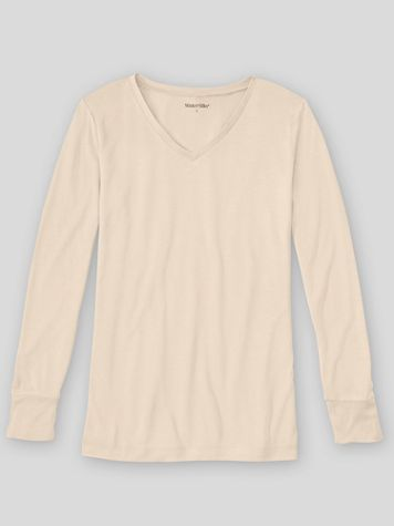 WinterSilks Silk-Knit Mid-Weight Long-Sleeve V-Neck Base Layer - Image 1 of 4