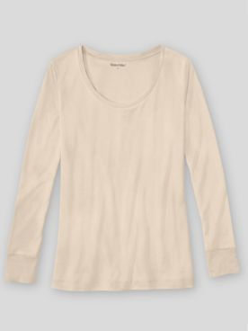 WinterSilks Silk-Knit Mid-Weight Long-Sleeve Sccopneck Base Layer