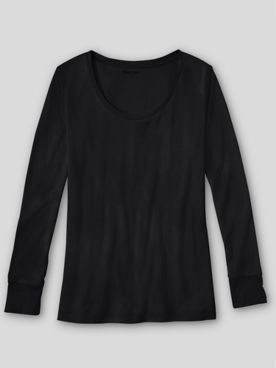 WinterSilks Silk-Knit Mid-Weight Long-Sleeve Sccopneck Base Layer