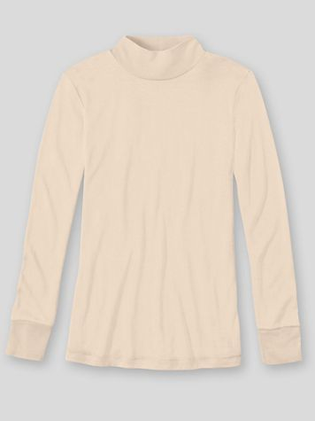 WinterSilks Silk-Knit Mid-Weight Long-Sleeve Mockneck Base Layer - Image 1 of 4