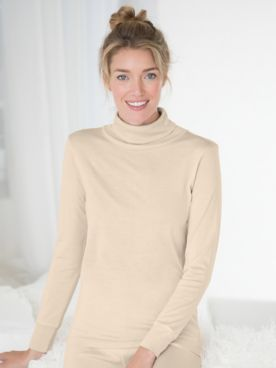 WinterSilks Silk-Knit Mid-Weight Long-Sleeve Turtleneck Base Layer