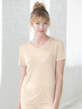 WinterSilks Silk-Knit Lightweight Short-Sleeve Scoopneck Base Layer