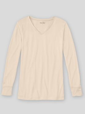 WinterSilks Silk-Knit Lightweight Long-Sleeve V-Neck Base Layer