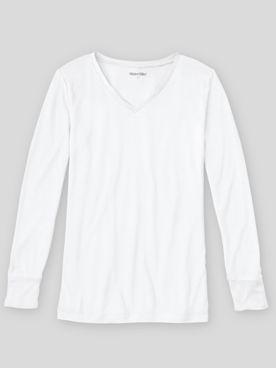 WinterSilks Silk-Knit Lightweight Long-Sleeve V-Neck Base Layer