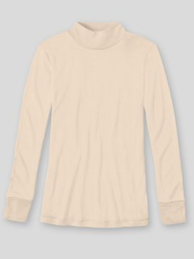 WinterSilks Silk-Knit Lightweight Long-Sleeve Mockneck Base Layer