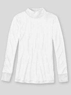 WinterSilks Silk-Knit Lightweight Long-Sleeve Mockneck Base Layer