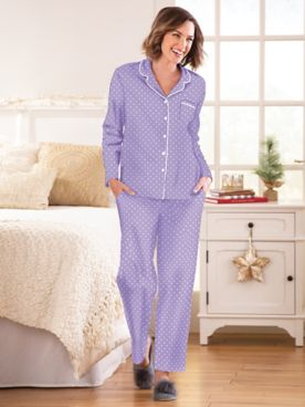 Karen Neuburger® Polka Dot-Print Long-Sleeve Girlfriend Pajama Set