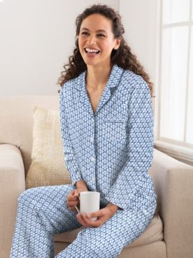 Karen Neuburger®  Nara Cotton-Blend Knit Long-Sleeve Girlfriend Pajamas