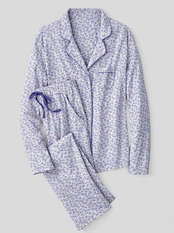 Karen Neuburger®  Nara Cotton-Blend Knit Long-Sleeve Girlfriend Pajamas - Image 1 of 1