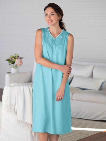 Soft Luxe Knit Embroidered Nightgown - Image 1 of 2