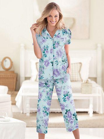 Karen Neuburger® Spring Meadow Floral Capri Pajamas - Image 2 of 2