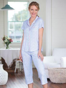 Karen Neuburger Short-Sleeve Havana Ditsy Floral Capri Pajamas