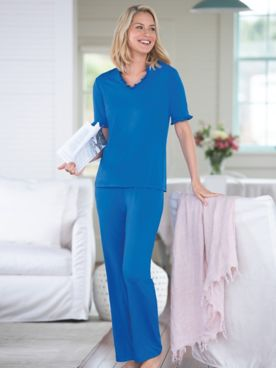 Ruffle V-Neck Knit Pajama Set