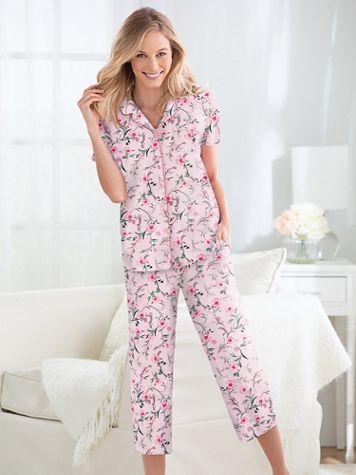 Karen Neuburger Heaven Above Pink Floral Print Girlfriend Capri Pajamas - Image 1 of 2