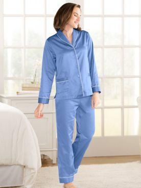 Solid Brushed-Back Satin Shawl-Collar Pajamas