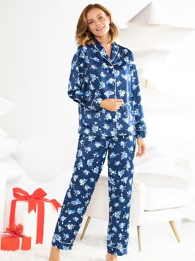 Twilight Floral Brushed-Back Satin Shawl Collar Pajamas