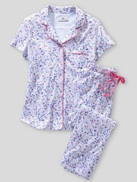 Karen Neuburger Short Sleeve Girlfriend Knit Capri Ditsy Floral Pajamas