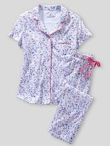 Karen Neuburger Short Sleeve Girlfriend Knit Capri Ditsy Floral Pajamas - Image 2 of 2