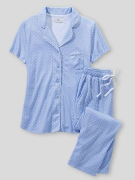 Karen Neuburger Short Sleeve Girlfriend Knit Capri Blue Foulard Pajamas