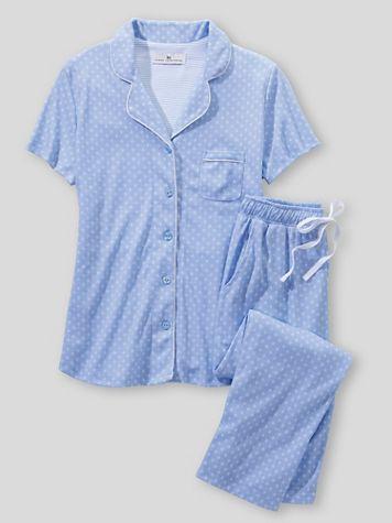 Karen Neuburger Short Sleeve Girlfriend Knit Capri Blue Foulard Pajamas - Image 2 of 2