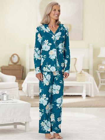 Karen Neuburger® Floral Multi Print Long-Sleeve Girlfriend Knit Pajamas - Image 2 of 2