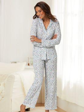 Karen Neuburger® Ditzy Floral Print Long-Sleeve Girlfriend Knit Pajamas