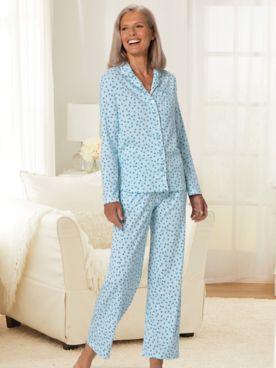 Karen Neuburger® Geometric Multi Print Long-Sleeve Girlfriend Knit Pajamas