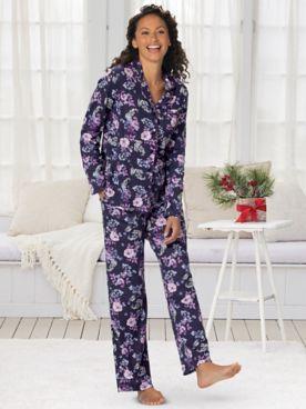 Karen Neuburger® Midnight Floral Long-Sleeve Girlfriend Pajamas