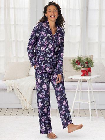 Karen Neuburger® Midnight Floral Long-Sleeve Girlfriend Pajamas - Image 2 of 2